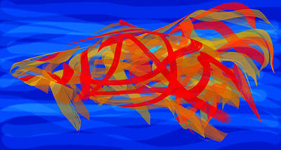 Digital Art - Bright Fish In Blue Water by Stephanie Grant