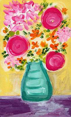 Vase Wall Art - Painting - Bright Flowers by Linda Woods