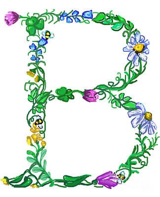Marriage Digital Art - Bright Fun Colorful Hand Drawn Monogram B by Lea S