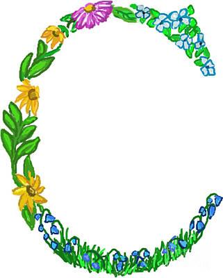 Bright Fun Colorful Hand Drawn Monogram C Print by Lea S