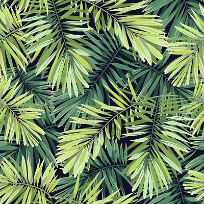 Digital Art - Bright Green Background With Tropical by Msmoloko