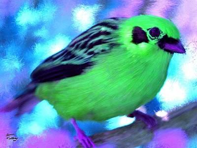 Bright Green Finch Art Print