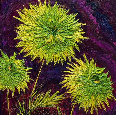 Bright Green Mums Art Print by Paris Wyatt Llanso