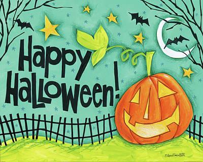 Bat Painting - Bright Halloween I by Anne Tavoletti