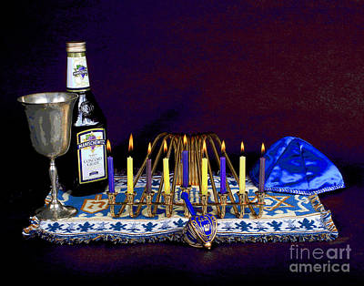 Photograph - Bright Hanukah Candles by Larry Oskin