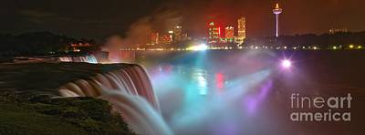 Photograph - Bright Lights At Niagara Falls Panorama by Adam Jewell