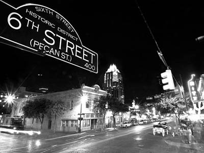 6th Street Photograph - Bright Lights At Night by John Gusky