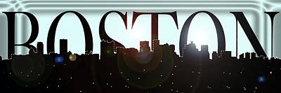 Boston Skyline Panoramic Photograph - Bright Lights Boston Skyline by Joann Vitali