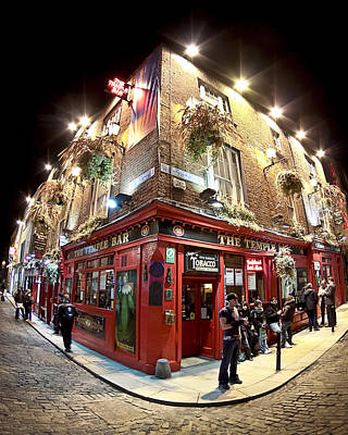 Art Print featuring the photograph Bright Lights Of Temple Bar In Dublin Ireland by Mark E Tisdale