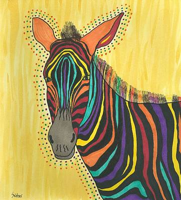 Art Print featuring the painting Bright Lite African Zebra  by Susie Weber