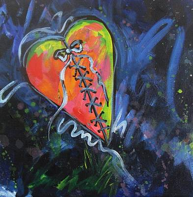 Broken Heart Painting - Bright Mended Broken Heart by Carol Suzanne Niebuhr