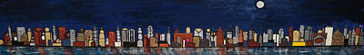 Bright Moon Over The Hudson Art Print