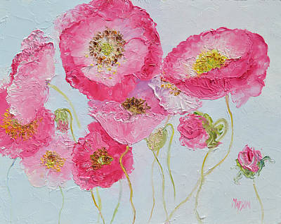 Print Of Poppy Painting - Bright Pink Poppies by Jan Matson