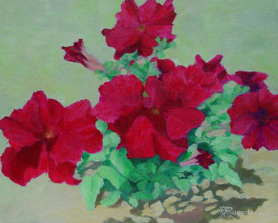 Painting - Red Flowers Art Brilliant Petunias Bright Floral  by Elizabeth Sawyer