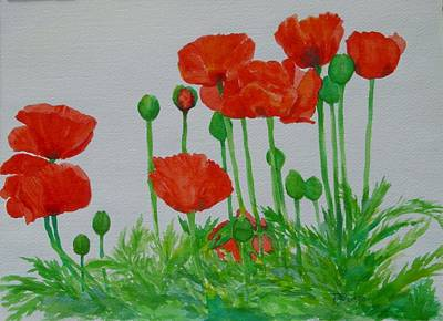 K Joann Russell Painting - Red Poppies Colorful Flowers Original Art Painting Floral Garden Decor Artist K Joann Russell by Elizabeth Sawyer