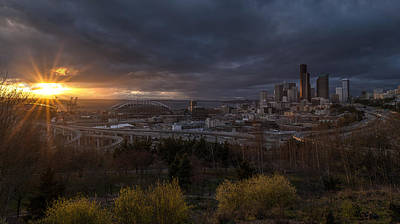 Skylines Royalty-Free and Rights-Managed Images - Bright Seattle Sunstar Dusk Skyline by Mike Reid