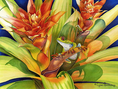 Bromeliad Painting - Bright Stars by Lyse Anthony