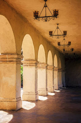 Colonial Architecture Photograph - Bright Sun Cool Shade Balboa Park by Joan Carroll