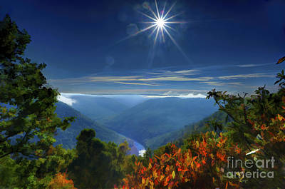 Art Print featuring the photograph Bright Sun In Morning Cheat River Gorge by Dan Friend