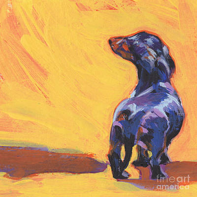 Dachshund Puppy Painting - Bright Sunny Day by Lea S
