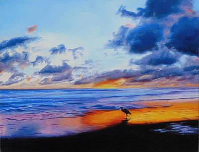 Bright Sunset On The Water Original by Sue Birkenshaw