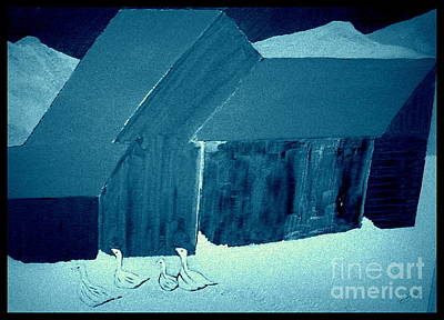 Snow Geese Painting - Bright Winter's Night by Bill OConnor