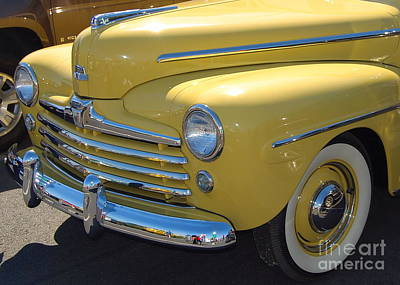 Photograph - bright yellow Ford by Mark Spearman