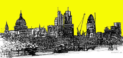 Skylines Drawings - Dark Ink with bright yellow London skies by Adendorff Design
