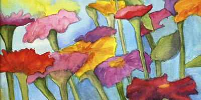 Painting - Bright Zinnias by Kerrie  Hubbard
