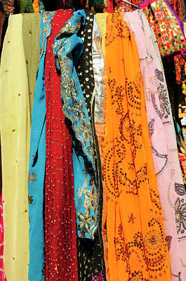 Embellished Photograph - Brightly Colored Scarves, Udaipur by Inger Hogstrom