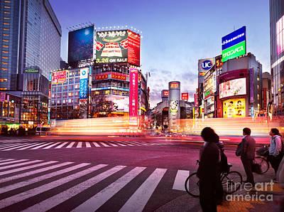 Shibuya Photograph - Brightly Lit Intersection Of Shibuya Tokyo by Oleksiy Maksymenko