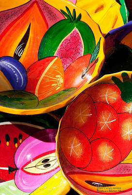 Photograph - Brightly Painted Bowls At A Market - Mexico - Travel Photography By David Perry Lawrence by David Perry Lawrence