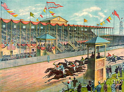 Brighton Beach Racetrack 1887 Art Print by Padre Art