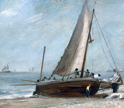 Constable Painting - Brighton Beach With Fishing Boats by John Constable