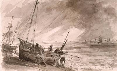 England Drawing - Brighton Coastal Scene, C.1828 by John Constable