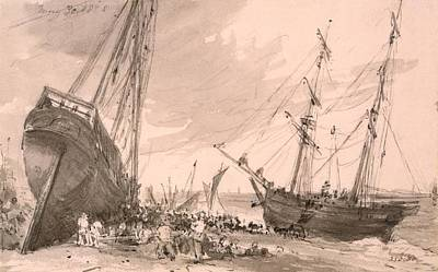 England Drawing - Brighton Coastal Scene With Two Ships by John Constable