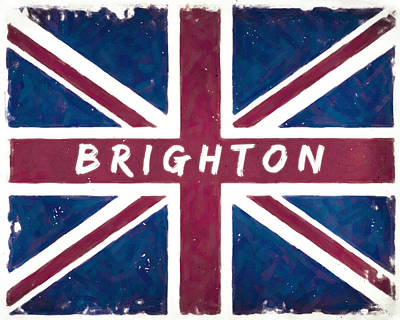 Digital Art - Brighton Distressed Union Jack Flag by Mark E Tisdale