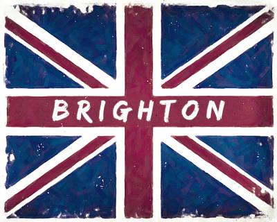 Digital Art - Brighton Distressed Union Jack Flag by Mark Tisdale