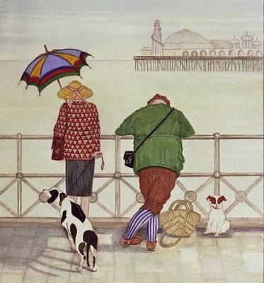 Domestic Animals Photograph - Brighton Pier, 1986 Watercolour On Paper by Gillian Lawson