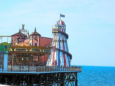 Summer Fun Digital Art - Brighton Pier Fun Park by Jan Matson