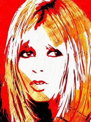Sex Symbol Mixed Media - Brigitte Bardot Red by Daniel Janda