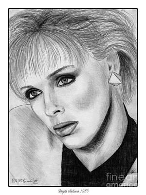 Famous Women Singers Drawing - Brigitte Nielsen In 1986 by J McCombie