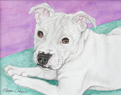 Wall Art - Painting - Briley The Pitbull by Megan Cohen