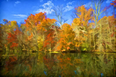Photograph - Brilliant Bright Colorful Autumn Trees On The Canal by David Letts