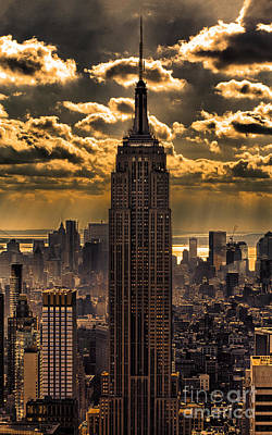 Rays Photograph - Brilliant But Hazy Manhattan Day by John Farnan
