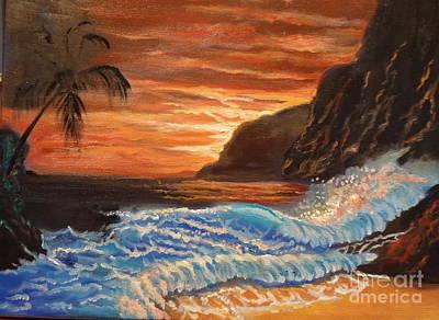 Brilliant Hawaiian Sunset 1 Art Print by Jenny Lee