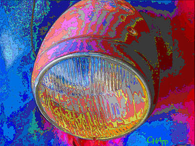 Photograph - Brilliant Headlight by C H Apperson