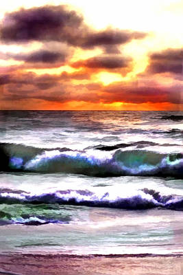 Cambria Painting - Brilliant Nags Head Sunrise by Elaine Plesser