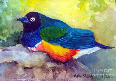 Starlings Painting - Brilliant Starling by Asha Sudhaker Shenoy