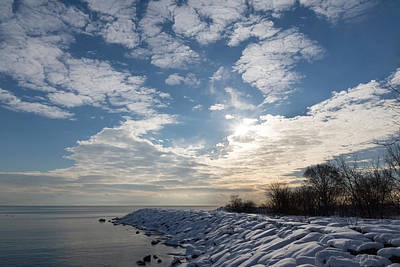 Brilliant Sunshine After The Snowstorm - A Winter Beach On Lake Ontario Art Print